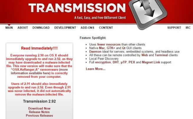 Transmission, la aplicación infectada por ransomware
