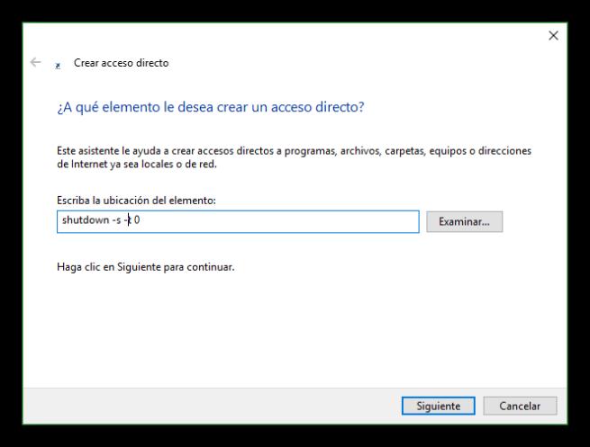 Acceso directo para apagar el PC
