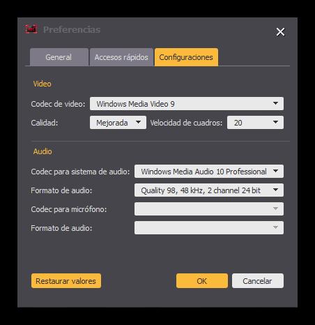 Aiseesoft Screen Recorder - Preferencias codec