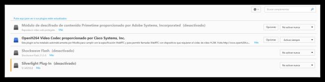 Desactivar plugins de terceros en navegador Firefox