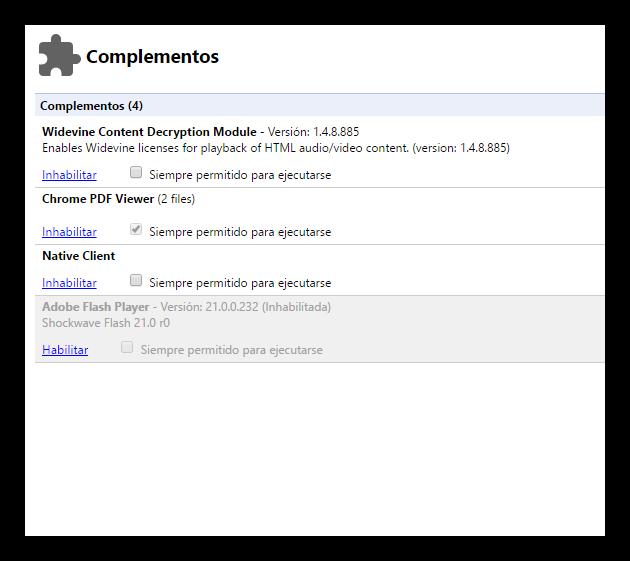 Desactivar plugins de terceros en navegador Google Chrome
