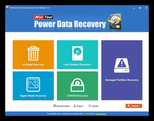 MiniTool Power Data Recovery 7 - Ventana principal
