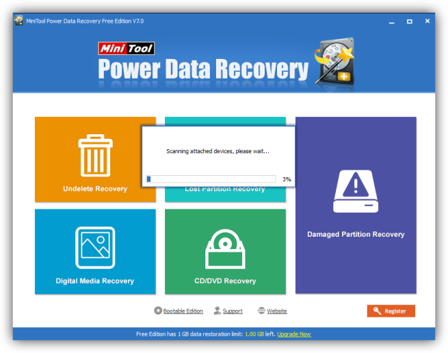 MiniTool Power Data Recovery 7 - analizando discos
