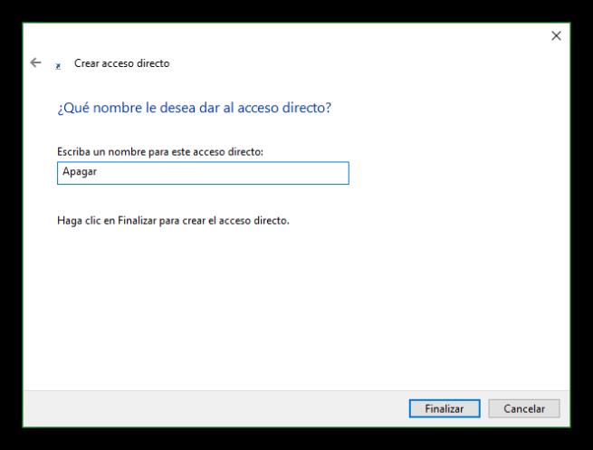Nombre acceso directo Windows