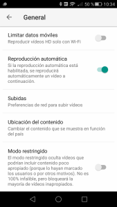 Ajustes de YouTube Android