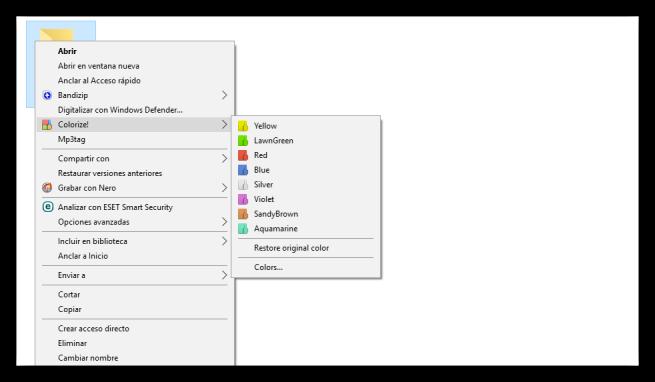 Cambiar color carpeta Windows con Folder Colorizer