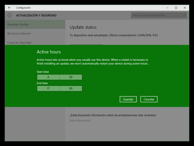 Cambiar horas de actividad Windows 10