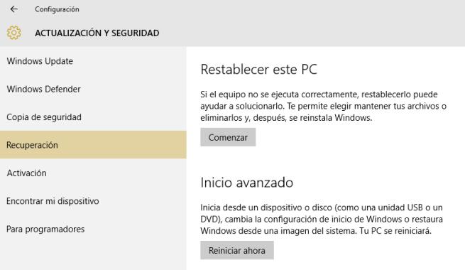 Recuperación en Windows 10