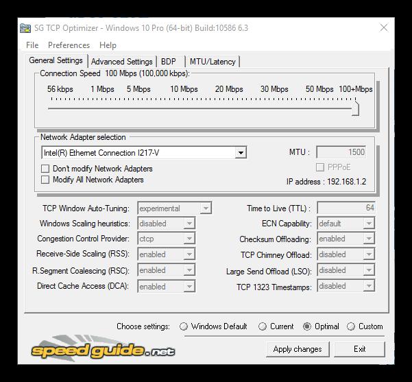 SG TCP Optimizer - Ventana principal