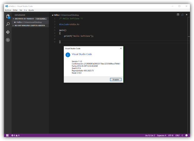 Visual Studio Code - Hello SoftZone