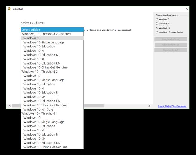 Windows ISO Downloader - Versiones Windows