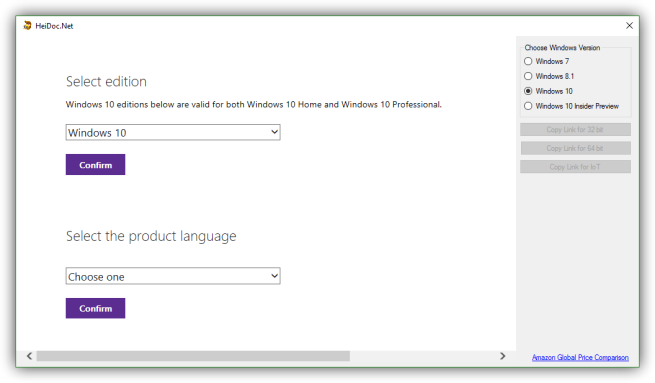 Windows ISO Downloader - versiones e idiomas