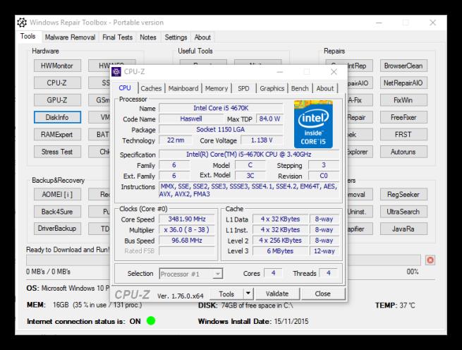 Windows Repair Toolbox - Cpu-Z