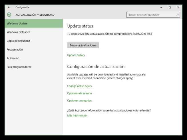 Windows Update en Windows 10 Anniversary Update