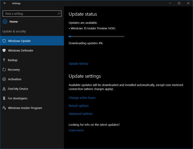 Configuración Windows 10 build 14361