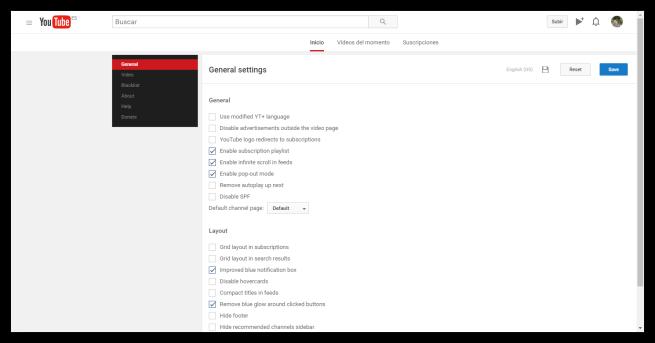 Configuración YouTube Plus