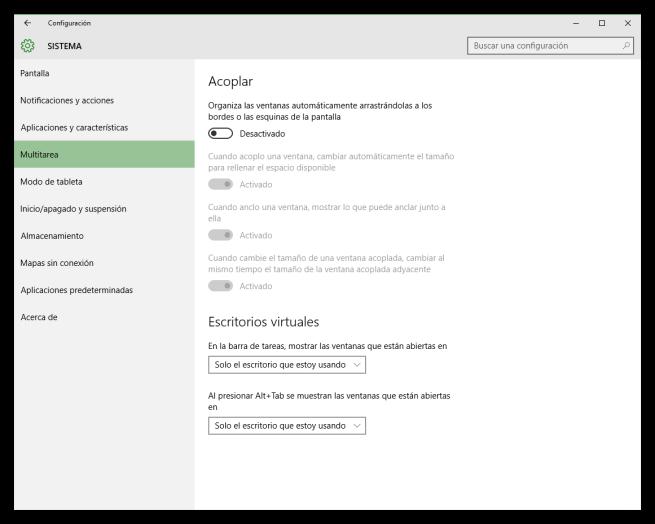 Configurar multitarea Windows 10