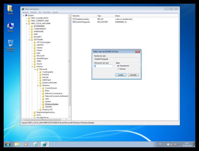 Desactivar mensaje de 'obtener Windows 10'