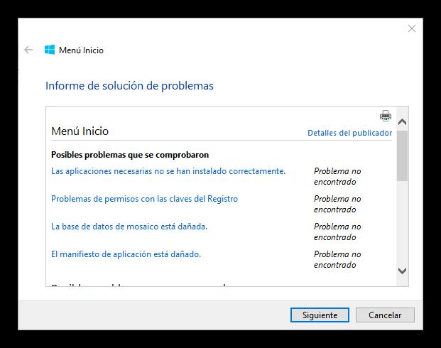 Detalles de problemas de menú inicio y Cortana en Windows 10