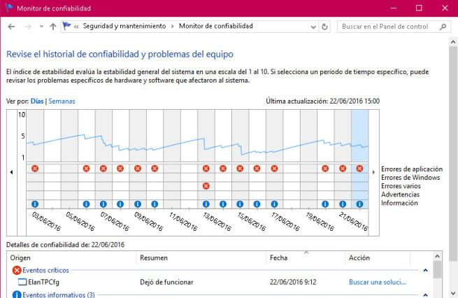 Monitor Confiabilidad Windows