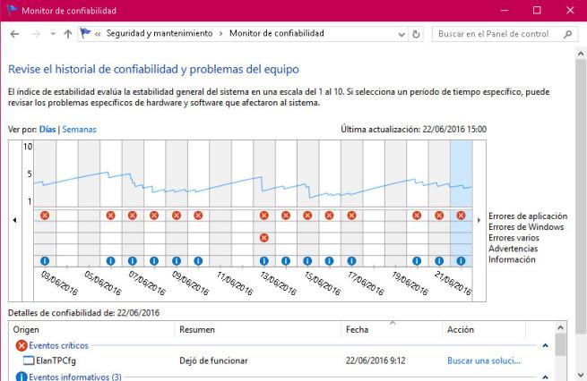Monitor Confiabilidad Windows