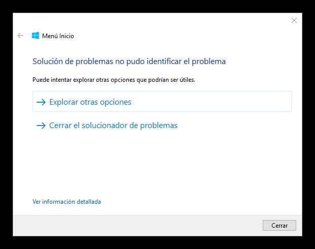 No hay problemas en menú inicio ni Cortana en Windows 10