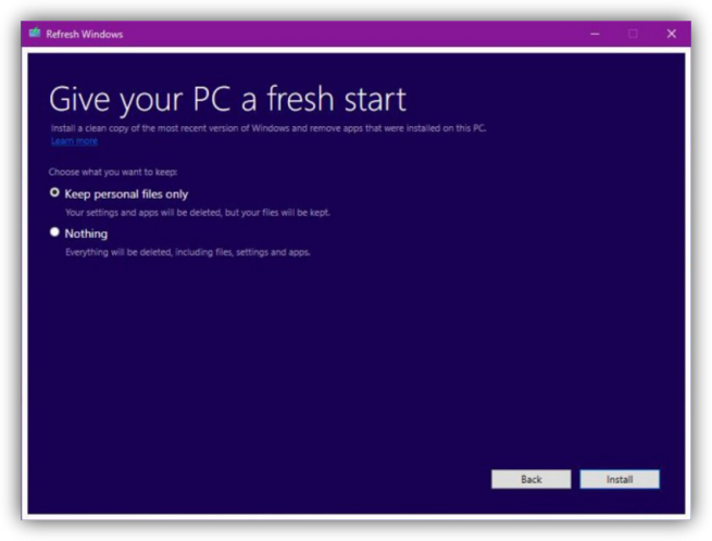 Refresh Windows 10 Tool