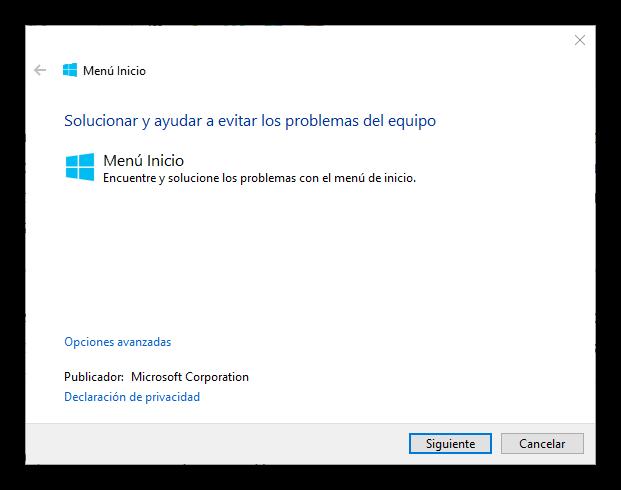 Solucionador de problemas del menú inicio y Cortana de Windows 10