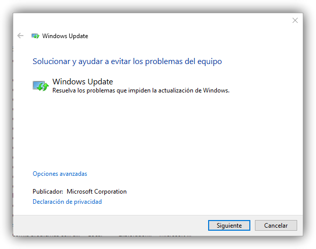 Solucionar problemas Windows Update Windows 10