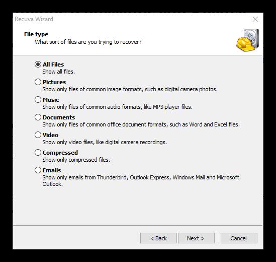 Tipos de archivos a buscar y recuperar con Recuva