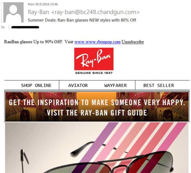 Estafa correo Ray Ban