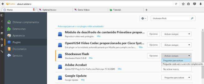 Flash en Firefox