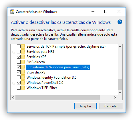 Activar características de Windows 10