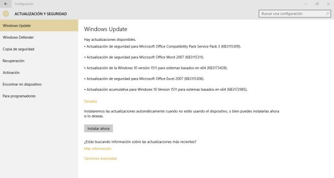 Actualizaciones acumulativas de Windows 10