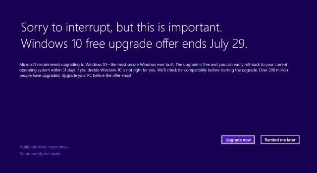 Aviso sobre Windows 10