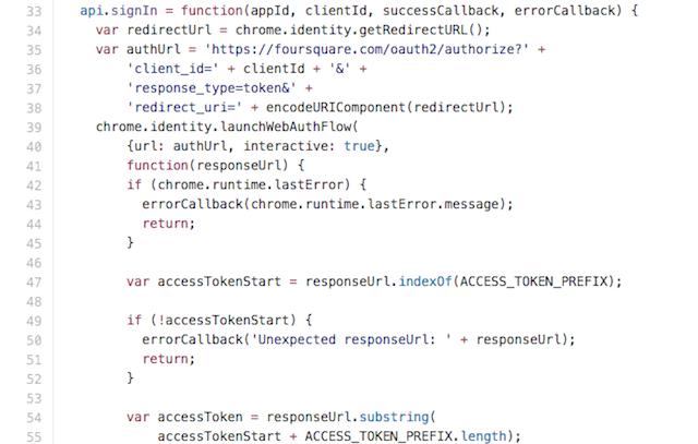 Código de extensión en Chrome