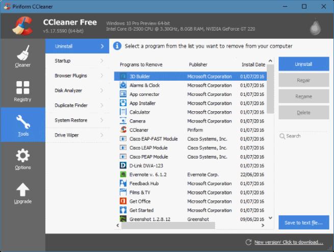 CCleaner para desinstalar aplicaciones