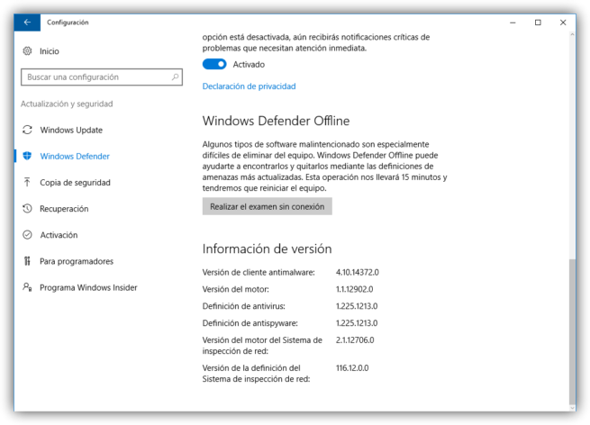 Configuración Windows Defender Windows 10 Anniversary Update