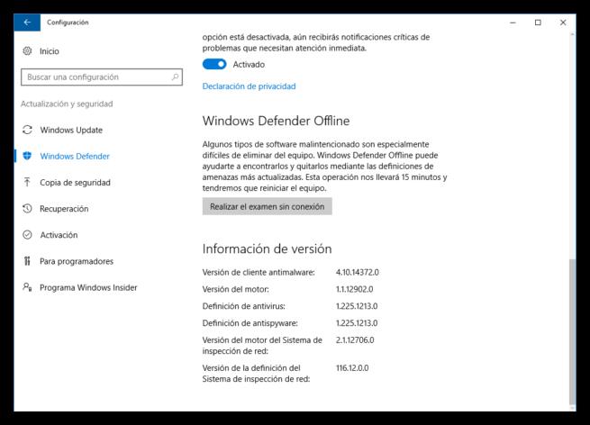 Configuración Windows Defender Windows 10 Anniversary Update