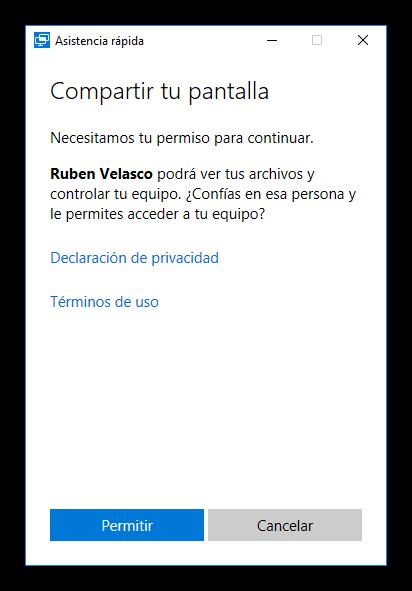 Confirmar acceso a Asistencia rápida Windows 10 Anniversary Update