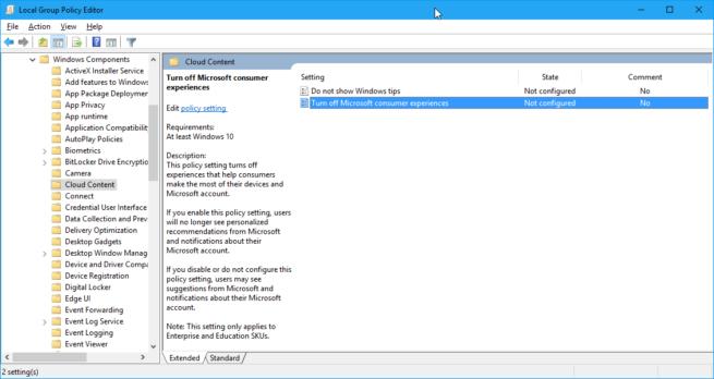Editor de directivas en Windows 10 Anniversary Update