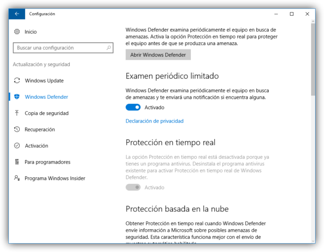 Examen periódico limitado Windows Defender