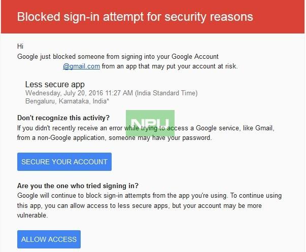 Gmail bloquea el acceso a su correo