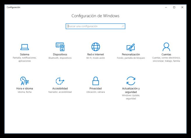 Nuevo menú configuración Windows 10 Anniversary Update