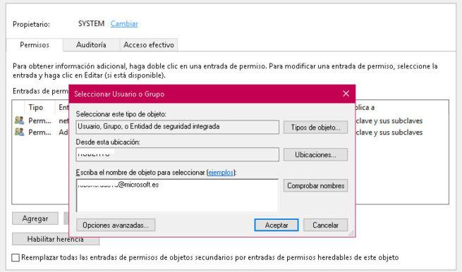 PErmisos registro Windows