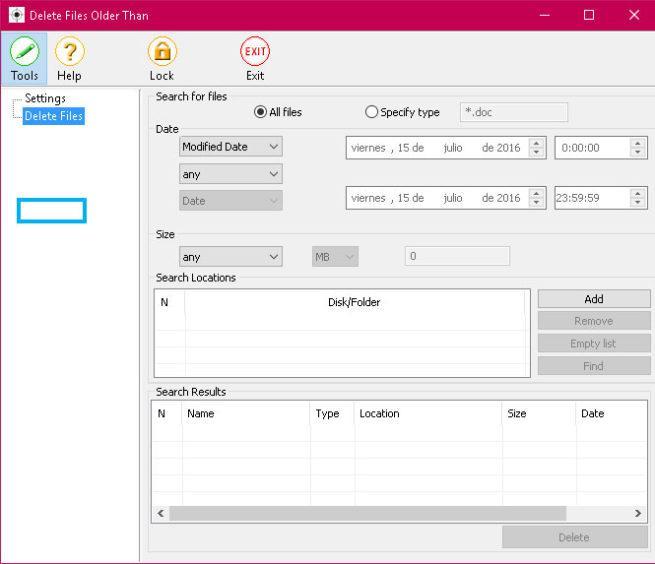 Delete files older than