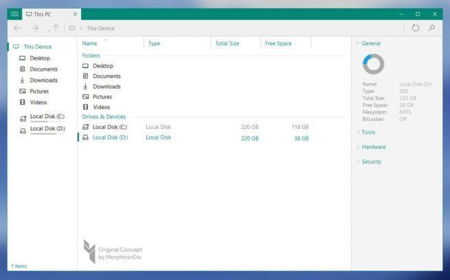 Concepto de explorador de archivos en Windows 10