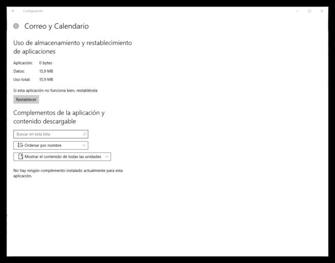 Configuración avanzada App Windows 10 Anniversary Update - Restablecer datos