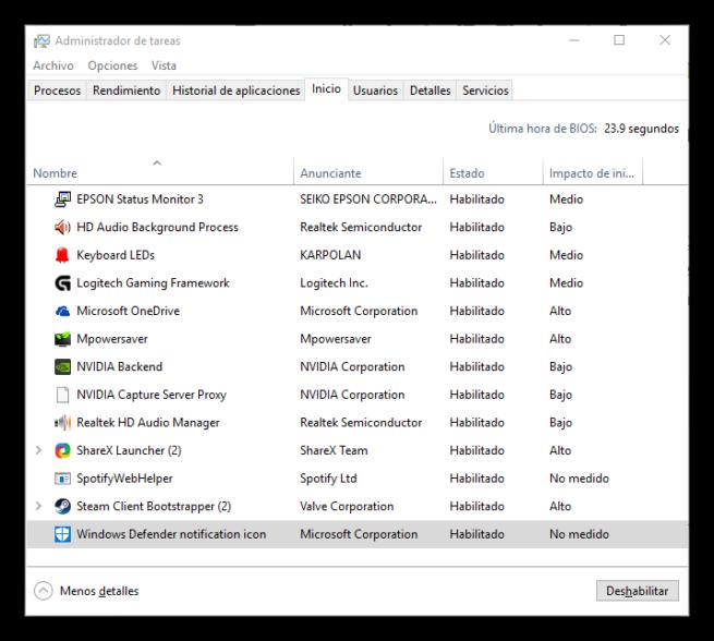 Deshabilitar icono Windows Defender