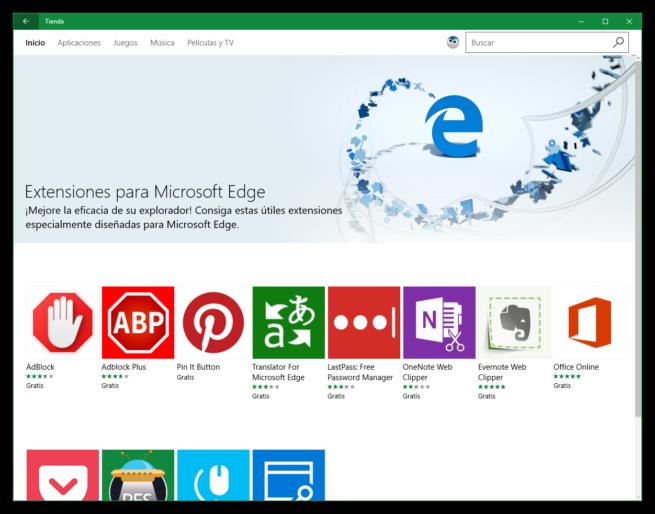 Extensiones Microsoft Edge WIndows 10 Anniversary Update